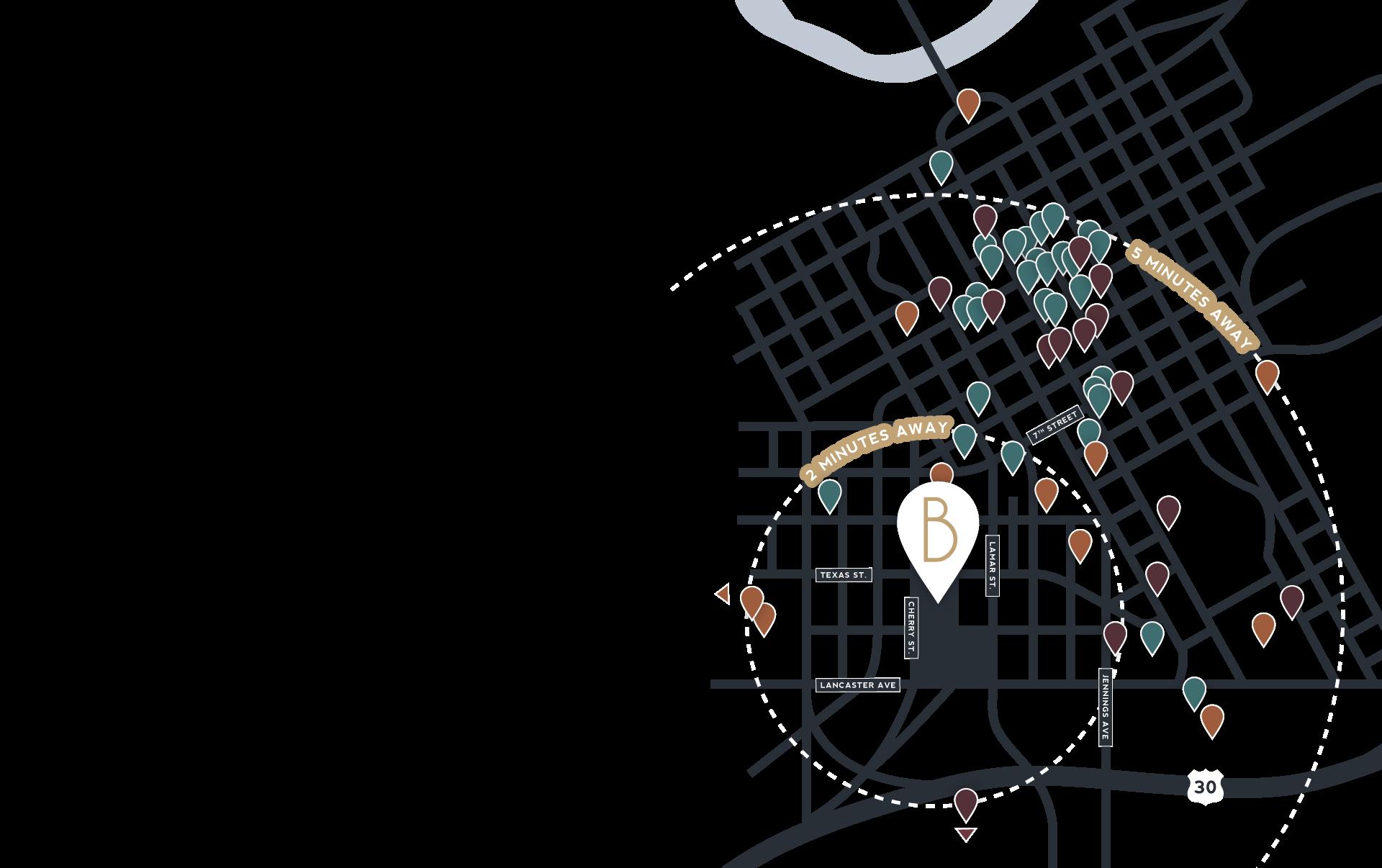 Burnet Lofts location map